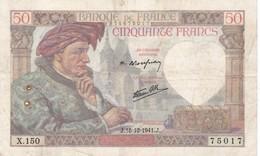 50 Francs   Jacques Coeur -1940  -  N 3 Ce Billet A Circulé  Vendu En L'etat - 50 F 1940-1942 ''Jacques Coeur''