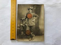 WW1 FOTO ALPINO 6°REGGIMENTO 9°BATT.DI MARCIA 3°COMPAGNIA ZONA DI GUERRA 1918 - Guerra, Militari