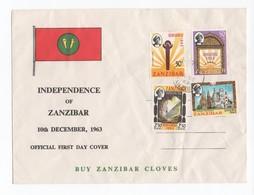 Zanzibar, Cover, Official FDC 1963, Independence Of Zanzibar, 1963  (2 Scans) - Zanzibar (1963-1968)