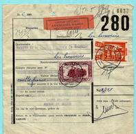 MOUSTACHE - Spoorwegdoc. VALEUR DECLARéE 1.000 Fr, Afst. COUVIN 2 05/01/1951 Met TR 310+322 - 1942-1951
