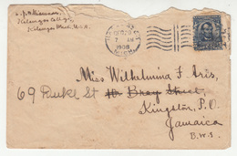 US Letter Cover Posted 1908 To Jamaica B200310 - Cartas