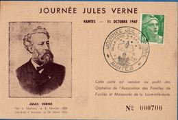 France 1947 Jules Verne Day Rocket To The Moon Special Cancel On Card; 2003.1304 - Covers & Documents