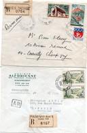 Plessis Trevise & Paris VIII An. 1 - 1966  - 2 Lettres Recommandées Avec étiquette Et Griffe - Alforienne De TP - 1961-....