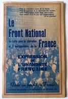 Livret Front National Lutte Pour La Libération De La France Discours Mutualité 1944 2WW - Other