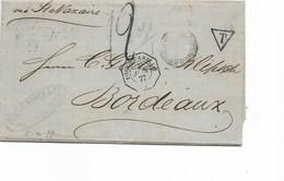 """SH 0382. LAC De PUERTO CABELLO 5 JUIN 1877 à BORDEAUX Via St NAZAIRE -c.octog. PORT0 CABELLO 5 JUIN 77 - Port """"12"""" + """"T"""" - Venezuela"""