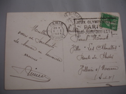 Jeux Olympiques Paris Mai Juin Juillet 1924 Flamme Flier Olympics Games - Postmark Collection (Covers)