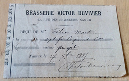 Très Rare Reçu Brasserie Victor Duvivier Rue Des Brasseurs 23 à Namur - 1885 - België