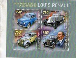 Centrafricaine 2014  -   LOUIS RENAULT - 4CV-KZ Torpédo-Juvaquatre-Monaquatre  -  4v  Sheet MNH/Neuf/Mint - Voitures