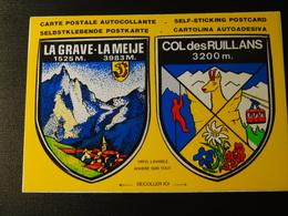Blason écusson Adhésif Autocollant Col Des Ruillans, La Grave, La Meige  CPSM  Coat Of Arms Sticker Adesivo Adhesivo - Recordatorios