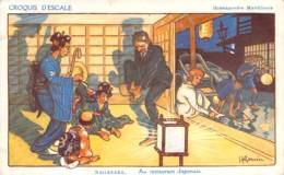 Illustrateur - H. Gervese - Nagasaki, Au Restaurant Japonais, Croquis D'Escale, Messageries Maritimes - Gervese, H.