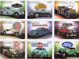 Comores - Classic Cars - Jaguar-Lincoln-Mercedes-MG-Oldsmobile-Pontiac-Rolls-Studebaker-Ford - 9v Sheet Neuf/Mint/MNH - Automobili
