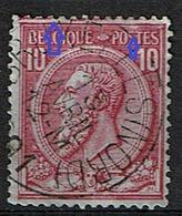 46  Obl  LCV 8  Griffe Carmin En Haut Et Tache Blanche S - 1884-1891 Léopold II