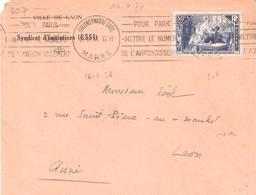Chomeurs Intellectuels :- 50c.+10c LA MANSARDE Seul Sur Lettre Illusrée De La Mairie De LAON. - Poststempel (Briefe)