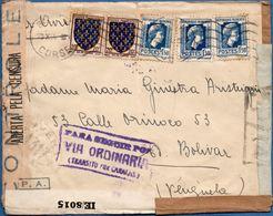 France Bastia Corse 1944, 23.X, Multiple Censored Cover By Algeria, Brasil, Trinidad To Venezuela 2003.1307 - Guerre Mondiale (Seconde)