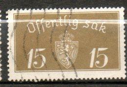NORVEGE Service 15o Brun Olive 1933 N° 13 - Norvège