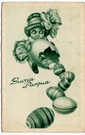 BUONA PASQUA - BAMBINA CON UOVA - 1933 - Vedi Retro - Formato Piccolo - Pasqua