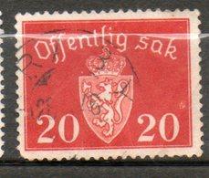 NORVEGE Service 20o Rouge Carminé 1937 N° 26 - Norvège