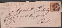 1854. 1 + CLOCK-CANCEL KØBENHAVN To General C. Hartenberg, Pontonner Companiet I Rend... () - JF321267 - 1851-63 (Frederik VII)