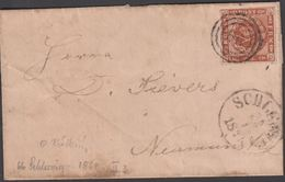 1861. 66 + SCHLESWIG 22 1 1861 To Neumünster.  4 S KGL POST FRIM. Blue NEUMÏNSTER 23 ... () - JF321269 - 1851-63 (Frederik VII)