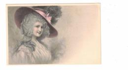 Pretty Woman, Fancy Hat With Pink Ribbon, Pre-1920 Postcard - Fashion