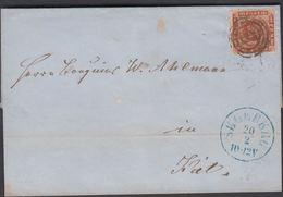 1864. 133 SEGEBERG 20 2 IN BLUE To KIEL.  4 S KGL POST FRIM. Beautiful Cancel. The Us... () - JF321274 - 1851-63 (Frederik VII)