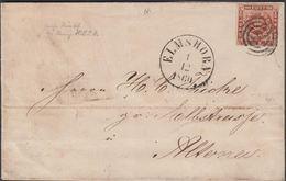 1860. 114 + ELMSHORN 1 12 1860 To Altona.  4 S KGL POST FRIM. Beautiful Holst. Eisenb... () - JF321276 - 1851-63 (Frederik VII)