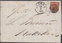 1855. 113 + ALTONA 10 3 1855 To Nakskov, Danmark 4 S KGL POST FRIM.  () - JF321277 - 1851-63 (Frederik VII)