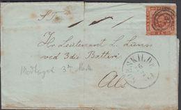 1864. 58 ROSKILDE 26 2 1864 To Hr. Leutenant L. Lunn Ved 3die Batteri Als.  4 S KGL P... () - JF321278 - 1851-63 (Frederik VII)