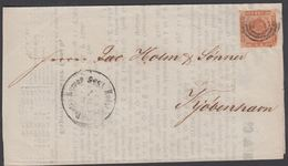 1856. 169? + HOLST. EISENB. POSTSP. BUREAU 15 7 1856 To Kjøbenhavn. 4 S KGL POST FRIM... () - JF321285 - 1851-63 (Frederik VII)