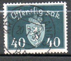 NORVEGE Service 40o Vert Noir  1937 N° 30 - Norvège