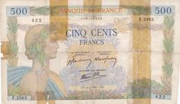 500 Francs La Paix -1941 - F 2365 Ce Billet A Circulé  - Vendu En L'etat - 1871-1952 Gedurende De XXste In Omloop