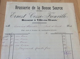 """Facture De La Brasserie De La Bonne Source """"Ernest Cosse-Fronville"""" - Ville-en-Waret - 1909/1910 - 1900 – 1949"""
