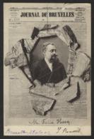 """FELIX HECQ * PREMIER PAGE GAZETTE """" JOURNAL DE BRUXELLES """" * 1902 * 2 SCANS !!! CRACQUE EN HAUT !!! - Personnages"""