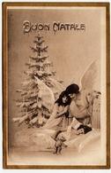 BUON NATALE - ANGELI CON BAMBINA ADDORMENTATA - 1919 - Vedi Retro - Formato Piccolo - Santa Claus