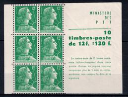 MARIANNE DE MULLER N° 1010 1955-59 En BLOC De 6 TIMBRES ISSUS DE CARNET Neuf ** SANS CHARNIÈRE NI TRACE - LUXE - 1955- Marianne Of Muller