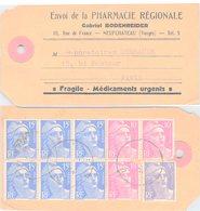 CARTE. ENVOI DE PHARMACIE REGIONALE. GABRIEL BODENREIDER NEUFCHATEAU POUR PARIS. GANDON BLOC DE 6 DU 15F.  125F - 1945-54 Marianne Of Gandon