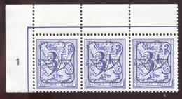 COB  Typo  804 (P6)  Bloc De 3, Coin De Feuille - Precancels