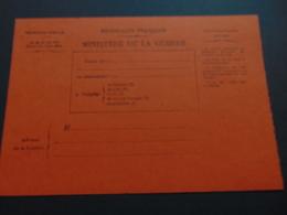Carte En Franchise Du Ministère De La Guerre Permettant D'informer De L'état De Santé D'un Soldat (1ère Guerre Mondiale) - Postal Stamped Stationery