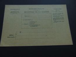 Carte En Franchise Du Ministère De La Guerre Permettant D'informer De L'état De Santé D'un Soldat (2nde Guerre Mondiale) - Postal Stamped Stationery