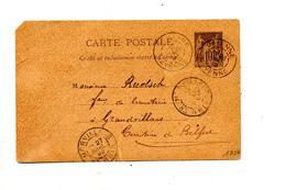 Carte Postale 10 C Sage Cachet Mayenne + Morvillars Entaille - Entiers Postaux