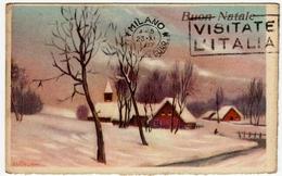 BUON NATALE - DIS. A. BERTIGLIA - PAESAGGIO INVERNALE - 1941 - Vedi Retro - Formato Piccolo - Anno Nuovo