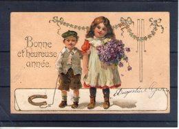 Carte Illustrée Gauffrée. Petit Couple - Año Nuevo
