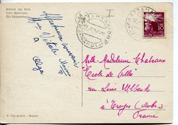 """Italia (1950) - 20 Lire """"Democratica"""" Su Cartolina In Tariffa Ridotta Per La Francia - 1946-.. République"""