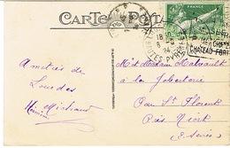 DAGUIN DE LOURDES SUR TIMBRE JEUX OLYMPIQUES 1924 - Storia Postale