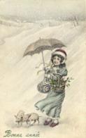 V K VIENNE  Fillette Sous Son Parapluie  Avec Un Panier De Houx Et De Gui Et Un Cochon Dans Les Bras  Bonne Année RV - Scènes & Paysages
