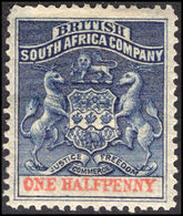Rhodesia 1892-94 ½d Deep Blue And Vermillion Heavily Mounted Mint. - Great Britain (former Colonies & Protectorates)