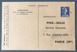 France Entier Lettre Muller N°1011B-CP1 - Repiqué PIED-SELLE - (C1205) - Cartes Postales Types Et TSC (avant 1995)