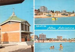 Cartolina Alba Adriatica Veduta Spiaggia Chiesa 1973 - Teramo