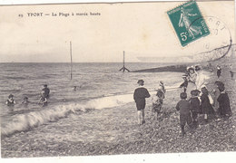 YPORT : T.RARE CLICHE DE LA PLAGE A MAREE HAUTE.ANIMEE BAIGNEURS ET ENFANTS.1910 .N° 29.B.ETAT.PETIT PRIX.COMPAREZ!!! - Yport
