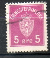 NORVEGE Service  5o Lilas Rose 1926 N° 1 - Norvège